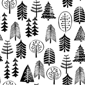 christmas trees // black and white christmas trees forest woodland kids baby nursery