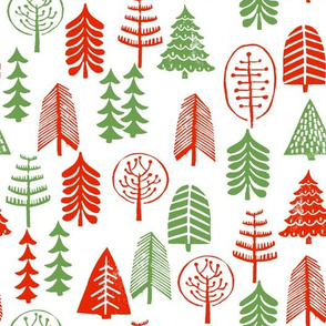 christmas trees // red and green christmas forest woodland kids baby white red and green classic