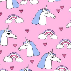 unicorn // pink and purple girly jewel rainbows cute girls design