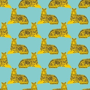 tiger // mint and yellow tigers safari animals cute baby  nursery fabric