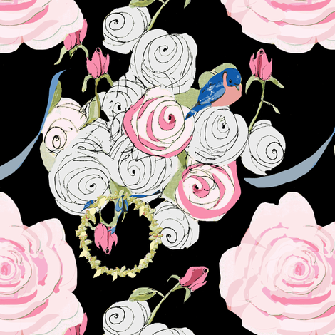 Bluebirds and Roses on Black fabric by karenharveycox on Spoonflower - custom fabric