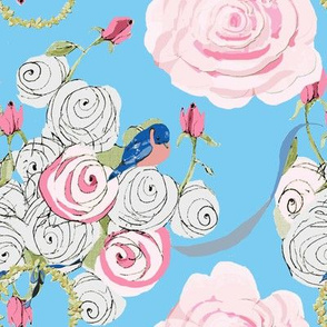 Bluebirds and Roses on pretty sky  blue