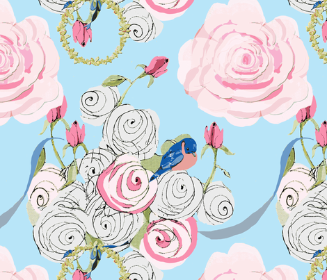 Bluebirds and Roses on powder blue fabric by karenharveycox on Spoonflower - custom fabric