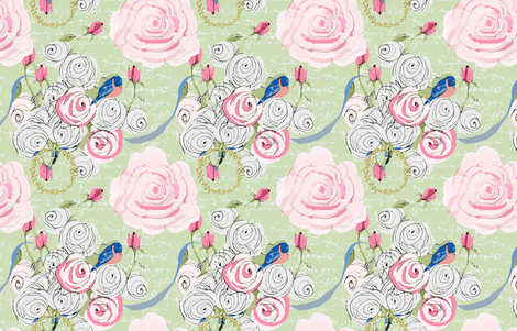 Bluebirds and roses on mint green with white french script fabric by karenharveycox on Spoonflower - custom fabric