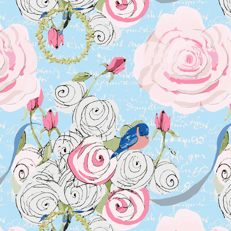 Bluebirds and roses on light blue with white french script fabric by karenharveycox on Spoonflower - custom fabric