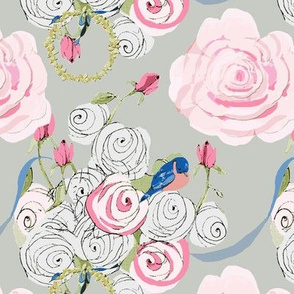 Bluebirds and Roses on Pale Gray