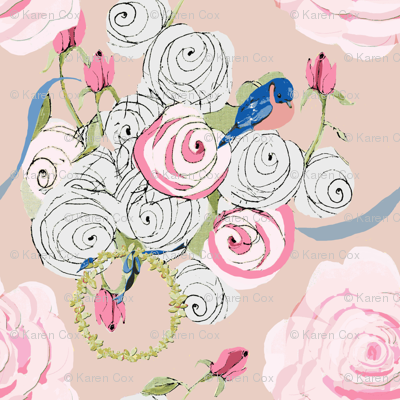 Bluebirds and Roses on Blush small
