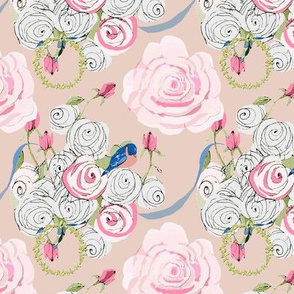 Bluebirds and Roses on Blush