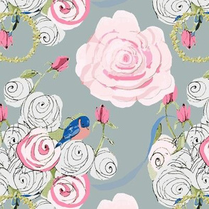 Bluebirds and Roses on Slate Gray