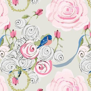 Bluebirds and Roses on Dreamy white