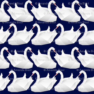 Navy Origami swan