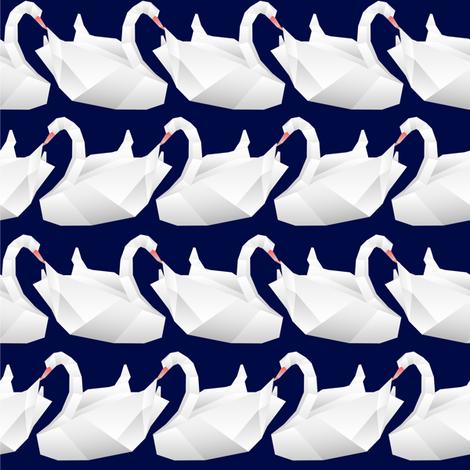 Navy Origami swan fabric by lambandewecrafts on Spoonflower - custom fabric