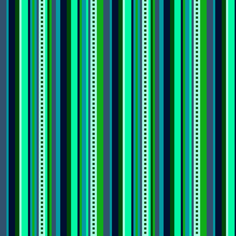 BN6 - Narrow Hybrid  Variegated Stripes  in Light Green - Teal - Navy Blue  fabric by maryyx on Spoonflower - custom fabric