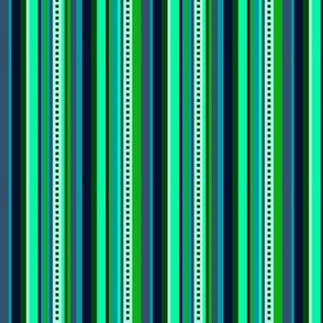 BN6 - Narrow Variegated Stripes  in Light Green - Teal - Navy Blue - Lengthwise