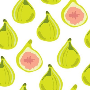 Fig Summer Fruit Food Leaf Leaves Lime Green Peach_Miss Chiff Designs