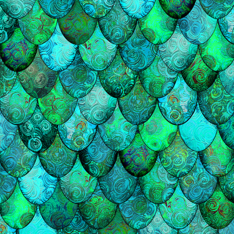 Greens + Aquamarine Mermaid or Dragon Scales, after Fabergé, by Su_G fabric by su_g on Spoonflower - custom fabric