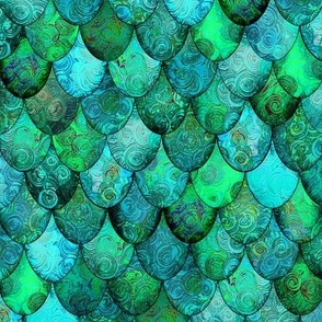 Greens + Aquamarine Mermaid or Dragon Scales, after Fabergé, by Su_G