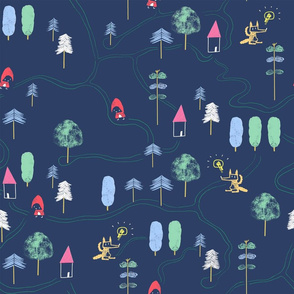 Red Riding Hood, into the woods, trees and houses map