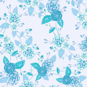 Roses Chinoserie Washed Cyan