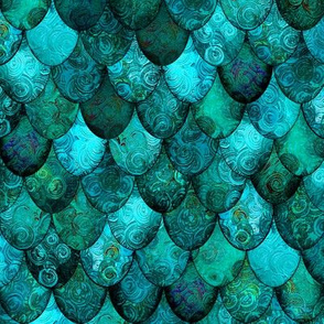 Dark Teal Mermaid or Dragon Scales, after Fabergé, by Su_G