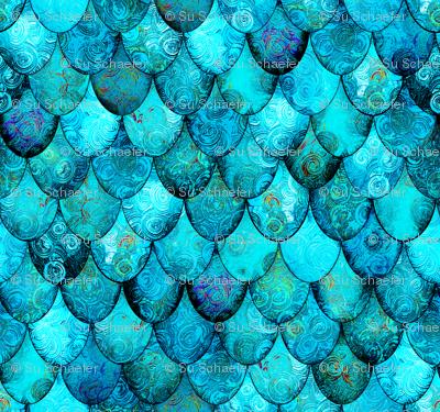Aqua + Turquoise Mermaid or Dragon Scales by Su_G