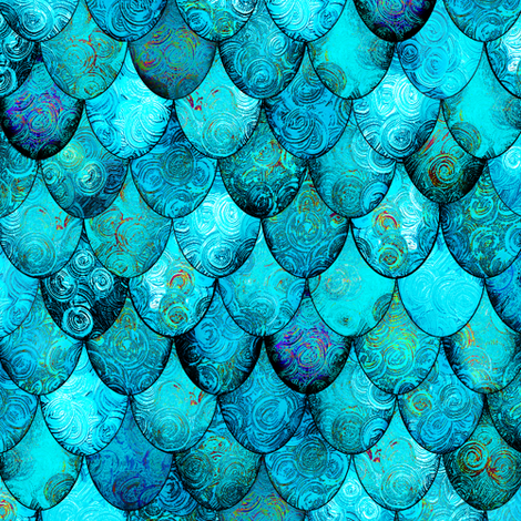 Aqua + Turquoise Mermaid or Dragon Scales by Su_G fabric by su_g on Spoonflower - custom fabric