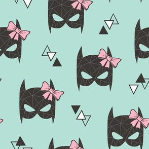 Girly Geometric Bat Mask with Pink Bow on Mint Green