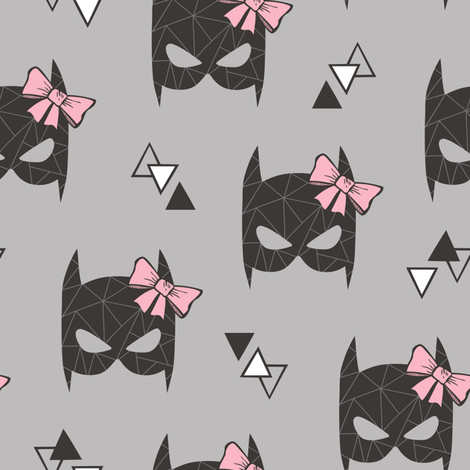 Girly Geometric Bat Mask with Pink Bow on Grey fabric by caja_design on Spoonflower - custom fabric