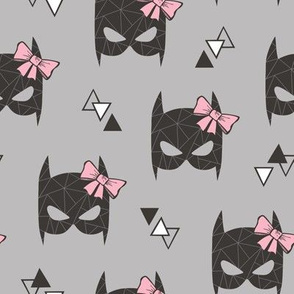 Girly Geometric Bat Mask with Pink Bow on Grey