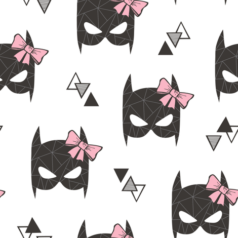 Girly Geometric Bat Mask with Pink Bow on White fabric by caja_design on Spoonflower - custom fabric