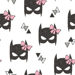 Girly Geometric Bat Mask with Pink Bow on White