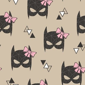 Girly Geometric Bat Mask with Pink Bow on Almond