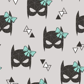 Girly Geometric Bat Mask with Mint Green Bow on Light Grey