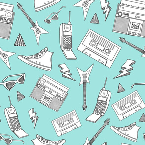 90s Life // 90s Style Illustrations on Fabric, Wallpaper & Gift Wrap // Black and White Illustrations on Teal