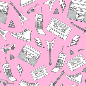 90s Life // 90s Style Illustrations on Fabric, Wallpaper & Gift Wrap // Black and White Illustrations on Pink