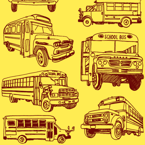 Here Comes the School Bus fabric by edsel2084 on Spoonflower - custom fabric