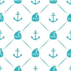 Teal Anchors & Sailboats