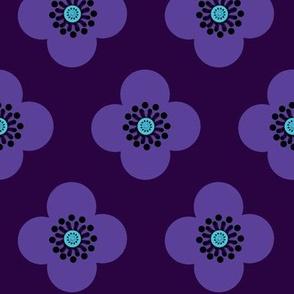 1960s purple floral // indigo // violet //  Geometric Poppy
