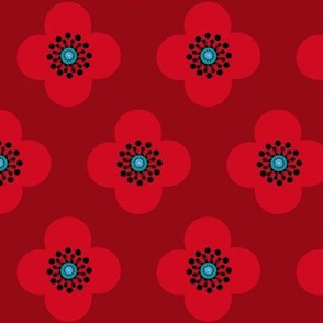 1960s retro flower//  Red Poppy  Flower Scarlet Red Flounce