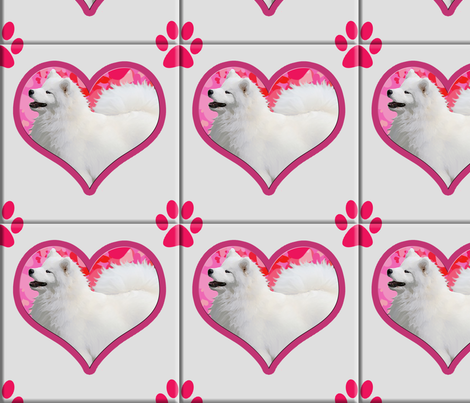Samoyed Hearts and Paws  fabric by designs_by_lee_ on Spoonflower - custom fabric