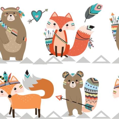 Tribal Woodland Creatures fabric by rocky_rocks_designs on Spoonflower - custom fabric