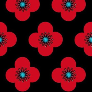 1960s Red Poppy Geometric  floral Drama Queen