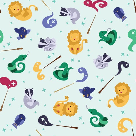 Baby Wizard Animals - Light Teal fabric by kritterstitches on Spoonflower - custom fabric