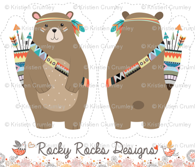 Cut And Sew Tribal Woodland Bear Fabric Rocky Rocks