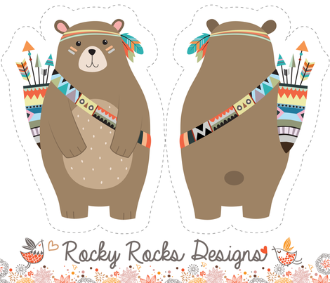 Cut and sew tribal woodland bear fabric by rocky_rocks_designs on Spoonflower - custom fabric