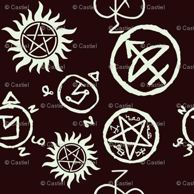 Supernatural Symbols White On Black Giftwrap Castielsangels