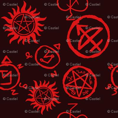 Supernatural Symbols Red On Black Wallpaper Castielsangels