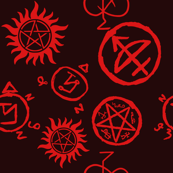 Supernatural Symbols Red on Black