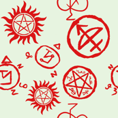 Supernatural Symbols Red on White