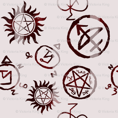 Supernatural Symbols Blood Fabric Castielsangels Spoonflower